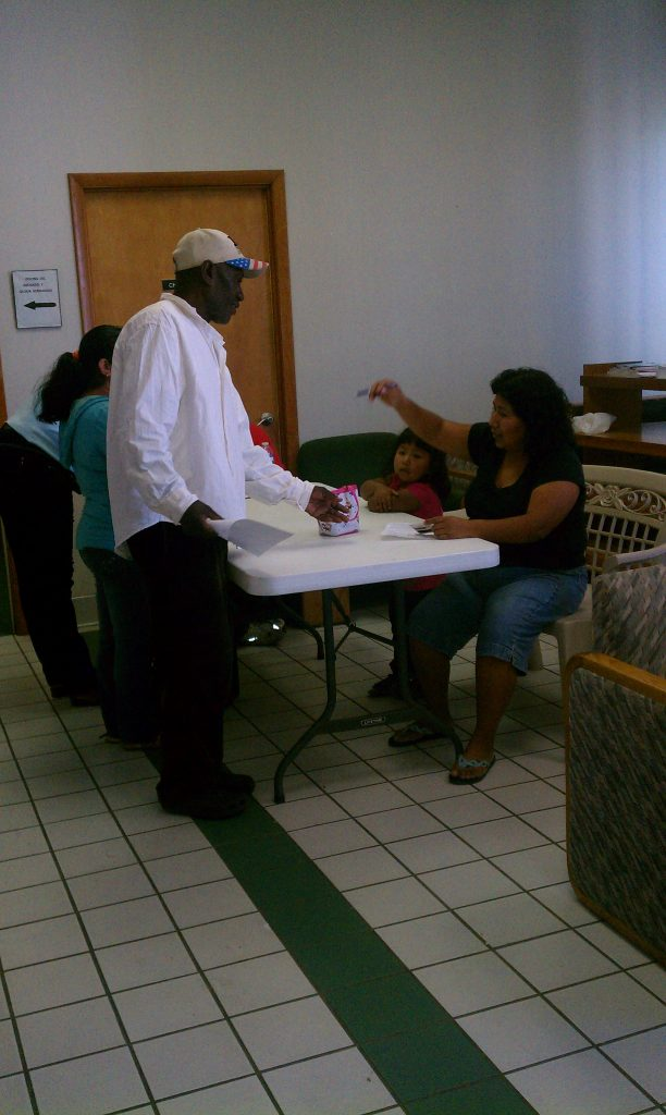 Signing up for Food Distribution
